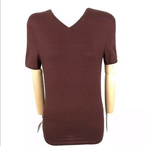 ❤️H&M Women XS V-Neck Burgundy Stripe Tee Slim Fit